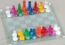 Шахматы стеклянные цветные, 35*35 см купить