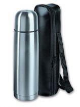 Термос S.Quire 0,7л, узкий, сталь, в чехле из искусственной черной кожи купить