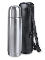 Термос S.Quire 1 л, узкий, сталь, в чехле из искусственной черной кожи купить