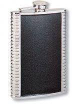 Фляга S.Quire 0,24 л, сталь+натуральная кожа, вставка черная купить