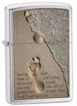 Зажигалка ZIPPO Footprint Brushed Chrome, латунь с никеле-хром. покрыт.,серебр.,матовая,36х56х12мм купить