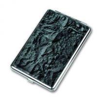Портсигар S.Quire, сталь+искусственная кожа, черный цвет с рисунком, 83*95*20 мм купить