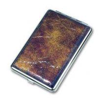 Портсигар S.Quire, сталь+искусственная кожа, коричневый цвет с рисунком, 74*115*18 мм купить
