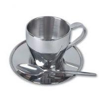 Чашка, металл, с двойными стенками, с блюдцем  и ложечкой купить