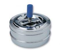 Пепельница S.Quire круглая, сталь, покрытие никель, серебристый, с синей ручкой, 90 мм купить