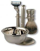 Бритвенный набор S.Quire: станок, помазок, чаша, подставка; серебристый купить