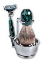 Бритвенный набор S.Quire: станок, помазок, чаша, подставка; зеленый перламутр купить