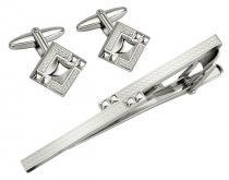 Набор S.Quire: заколка для галстука 70 мм + запонки, никель, серебристого цвета с гравировкой купить