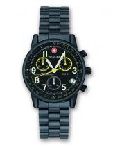 Часы COMMANDO SMC II,  хроно, черный циферблат, стальной корпус, браслет купить
