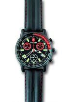 Часы COMMANDO  SRCL, хроно черный/красный циферблат, стальной корпус, черный ремешок купить