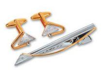 Набор S.Quire: заколка для галстука 66 мм + запонки, никель, серебристо-золотистого цвета купить