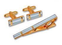 Набор S.Quire: заколка для галстука 56 мм + запонки, никель, серебристо-золотистого цвета купить