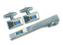 Набор S.Quire: заколка для галстука 65 мм + запонки, никель, серебристо цвета с синими вставками купить