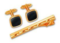 Набор S.Quire: заколка для галстука 65 мм + запонки, никель, золотистого цвета с чёрными вставками купить