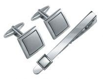 Набор S.Quire: заколка для галстука 70 мм + запонки, никель, серебристого цвета купить