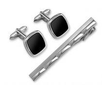Набор S.Quire: заколка для галстука 65 мм + запонки, никель, серебристого цвета с чёрными вставками купить