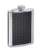 Фляга S.Quire 0,24 л, сталь+натуральная кожа, вставка черная с рисунком, D-Pro купить