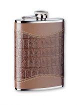 Фляга S.Quire 0,24 л, сталь+натуральная кожа, коричневый цвет с рисунком, D-Pro купить