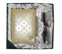 Набор: Обложка для паспорта и ручка. Ручка шариковая, латунь+лак, акрил, хром. Цвет золотой. купить