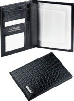Бумажник для водителя S.Quire, натуральная кожа черная тисненая матовая 100*135*15 мм купить