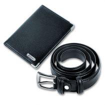Набор: бумажник водителя, ремень, кожа черная купить