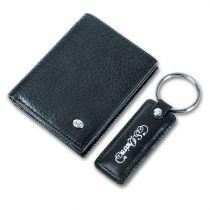 Набор: Чехол для кредитных карт, брелок, кожа черная купить