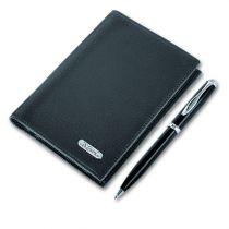 Набор: телефонная книжка, шариковая ручка, кожа черная купить