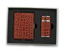 Набор S.Quire: портсигар+пепельница карманная, сталь+натуральная кожа, коричневый цвет с рисунком купить