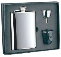 Набор S.Quire: фляга 1508YA + стаканчики 30 мл + воронка d=40 мм, сталь, картонная коробка купить