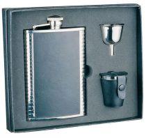 Набор S.Quire: фляга 1508YGB + стаканчики 30 мл + воронка d=40 мм, сталь, натур. кожа, карт. кор. купить