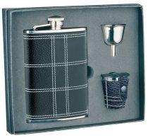 Набор S.Quire: фляга NCTB08-3175 + стаканчики 30 мл + воронка d=40 мм, сталь,натур.кожа,картон.кор. купить
