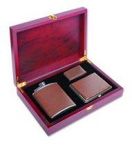 Набор в дер. коробке: фляга TB06-3206 + портсигар + зажим для денег купить