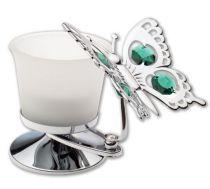 Бабочка, подсвечник серебристого цвета с цветными кристаллами купить