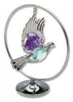 Голубь, настольный сувенир вращающийся серебристого цвета с цветными кристаллами купить