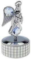 Ангел, музыкальная шкатулка серебристого цвета сголубыми кристаллами купить