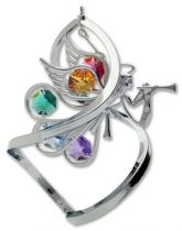 Ангел, настольный сувенир вращающийся серебристого цвета с цветными кристаллами купить