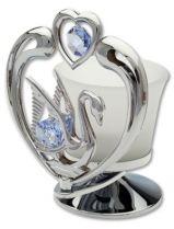 Лебедь, подсвечник серебристого цвета с голубыми кристаллами купить