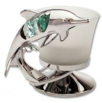Дельфин, подсвечник серебристого цвета с цветными кристаллами купить