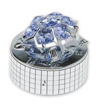 Черепаха, музыкальная шкатулка серебристого цвета с голубыми кристаллами купить
