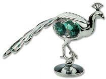 Павлин, миниатюра серебристого цвета с цветными кристаллами купить