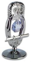 Сова, миниатюра серебристого цвета с голубыми кристаллами купить