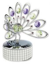 Павлин, музыкальная шкатулка серебристого цвета с цветными кристаллами купить