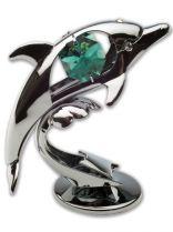 Дельфин, миниатюра серебристого цвета с цветными кристаллами купить