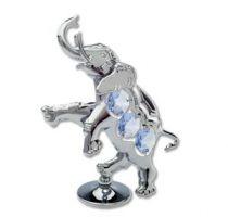 """Миниатюра Crystocraft """"Танцующий слон"""" серебристого цвета с голубыми кристаллами, сталь купить"""