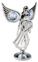 Ангел, миниатюра серебристого цвета с голубыми кристаллами купить