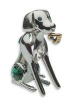 Собака, миниатюра серебристого цвета с цветными кристаллами купить