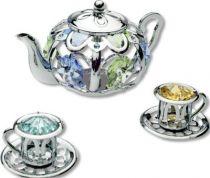 Чайник, миниатюра серебристого цвета с цветными кристаллами купить