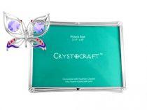 """Фото рамка Crystocraft """"Бабочка"""" серебристого цвета с сиреневыми кристаллами, сталь купить"""