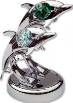 Дельфины, миниатюра серебристого цвета с цветными кристаллами купить