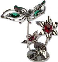 Бабочка, миниатюра серебристого цвета с цветными кристаллами купить